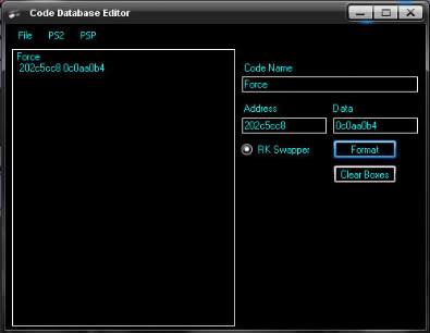 Code database editor